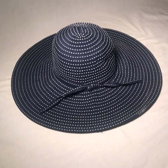Modcloth Accessories Pinstripe Floppy Sunhat Navy Blue